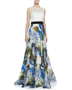Sleeveless Floral Skirt Ball Gown, Ivory/Multicolor   Sleeveless Floral Skirt Ball Gown, Ivory/Multicolor