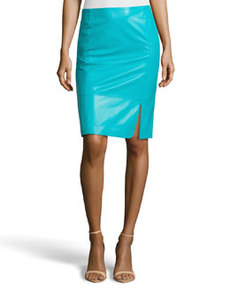 Lafayette 148 New York Curved-Slit Lambskin Slim Skirt, Cove