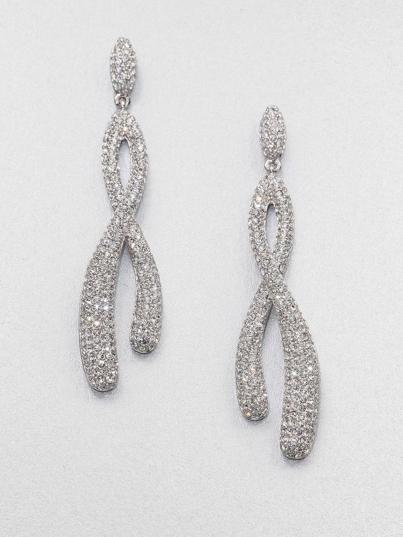 Adriana Orsini Pave Crystal Twisted Drop Earrings/Silvertone