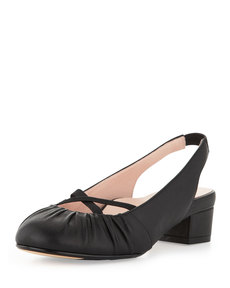 Taryn Rose Jalana Ruched Low-Heel Slingback, Black