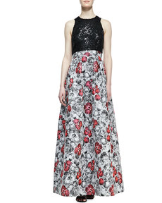 Kay Unger New York Sequin-Top Floral-Skirt Ball Gown, Multicolor
