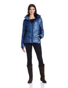 Calvin Klein Performance Women's Short Chevron Down Jacket with Faux-Fur Hood