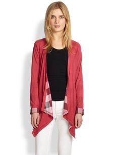Burberry Brit Reversible Open-Front Cardigan