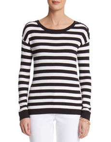 Stripe Lace Shoulder Pullover