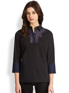Saks Fifth Avenue Collection Sheer Bib Shirt