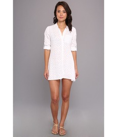 Tommy Bahama Woven Medallion High-Low Boyfriend Shirt Cover-Up