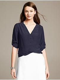 Silk Roll-Sleeve Riviera Blouse