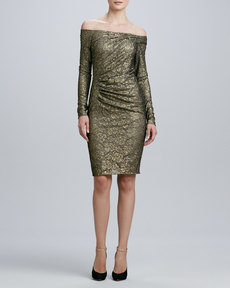 Carmen Marc Valvo Off-the-Shoulder Long-Sleeve Cocktail Dress
