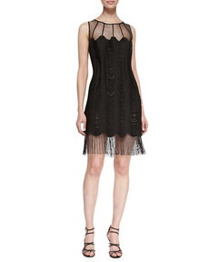 Kay Unger New York Sleeveless Mesh-Top Fringe-Hem Cocktail Dress, Black