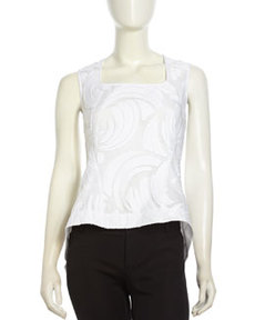 Lafayette 148 New York Paneled Layered-Gauze Tank Top, White