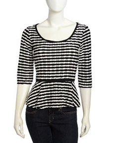 Max Studio Twisted Stripe Pattern Peplum Top, Black/White