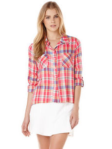 aquatic plaid two pocket hi-lo top