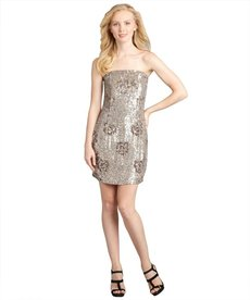 A.B.S. by Allen Schwartz latte metallic sequined rose strapless dress