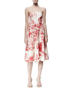Fiona Panama Flower-Print Strapless Dress, Cream/Chili   Fiona Panama Flower-Print Strapless Dress, Cream/Chili