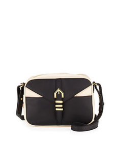 Linea Pelle Hayden Colorblocked Leather Crossbody Bag, Black/Nude