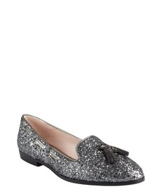 Miu Miu pewter glitter leather tassel flats