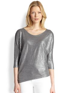 Eileen Fisher Metallic Linen Top