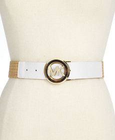 MICHAEL Michael Kors MK Tortoise Buckle Stretch Straw Belt