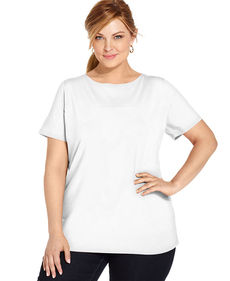 Jones New York Signature Plus Size Short-Sleeve Boat-Neck Tee