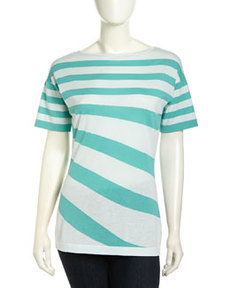 Lafayette 148 New York Drop-Shoulder Mixed Stripe Sweater, Oceana