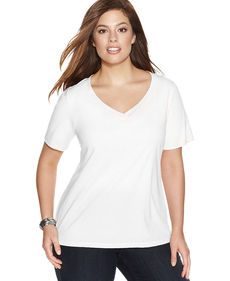INC International Concepts Plus Size Short-Sleeve V-Neck Tee