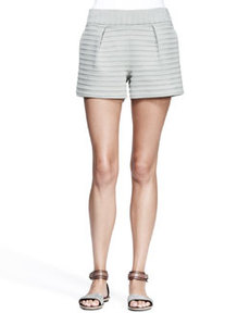 Pleated Bonded-Stripe Shorts   Pleated Bonded-Stripe Shorts