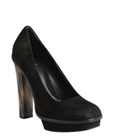 Fendi black suede square toe platform stacked heels