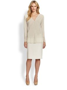 Lafayette 148 New York Raffia-Weave Pencil Skirt
