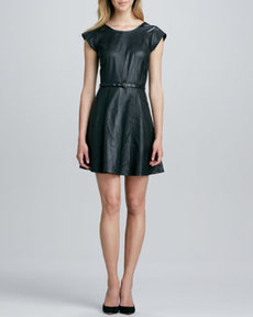 Joie Kristalyn Cap-Sleeve Leather Fit & Flare Dress