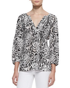 Addie 3/4-Sleeve Animal-Print Top   Addie 3/4-Sleeve Animal-Print Top