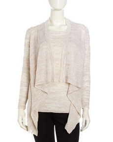 Lafayette 148 New York Mixed-Knit Open-Front Cardigan, Khaki Melange