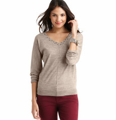 Petite Beaded V-Neck Seam Detail Sweater