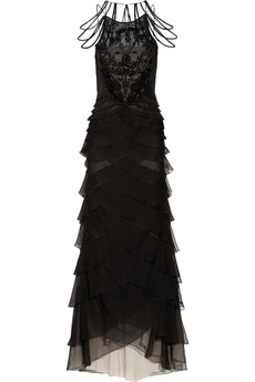 Alberta Ferretti Embellished silk-dupioni and silk-chiffon gown