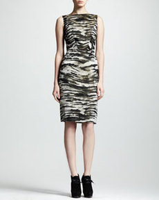 Lanvin Zebra-Jacquard Sheath Dress