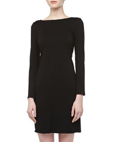 Isaac Mizrahi Long-Sleeve Stretch-Knit Slip-On Dress, Black