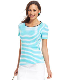 Charter Club Short-Sleeve Contrast-Trim Striped Tee