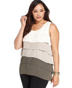 Alfani Plus Size Tiered Colorblock Sleeveless Top