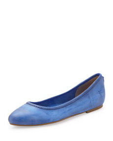 Frye Regina Leather Skimmer Flat, Blue