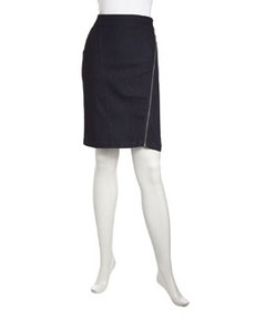 Laundry by Shelli Segal Asymmetric Zip-Trim Denim Pencil Skirt, Indigo