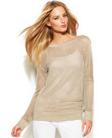 MICHAEL Michael Kors Petite Long-Sleeve Metallic Mesh-Knit Sweater