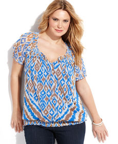 INC International Concepts Plus Size Short-Sleeve Ikat-Print Peasant Top