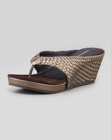 Donald J Pliner Gilles Metallic Woven Thong Wedge Sandal, Pewter