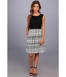 Ellen Tracy Cap Sleeved Eyelet Top w/ Printed Skirt
