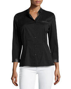 Lafayette 148 New York Venetia Combo Stretch Blouse, Black