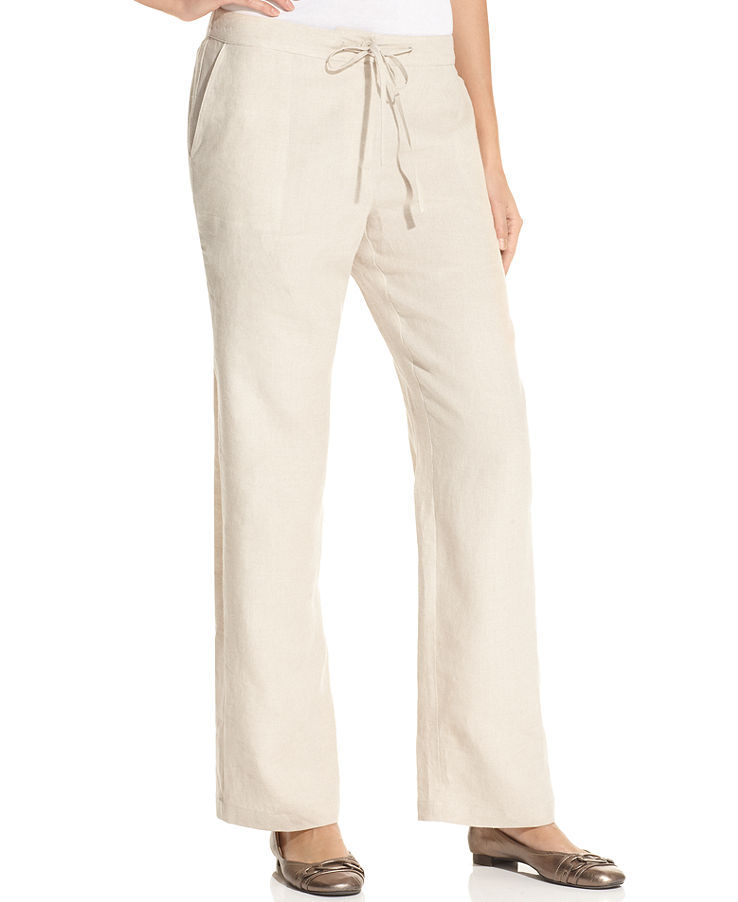 Charter Club Petite Wide-Leg Drawstring Linen Pants
