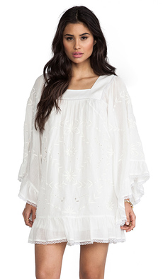 Anna Sui Heirloom Embroidered Dress in White