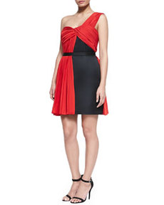 JASON WU One-Shoulder Dress, Red/Black