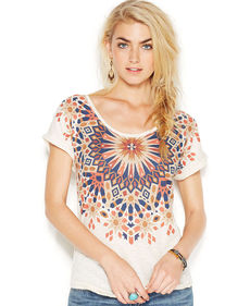 Lucky Brand Short-Sleeve Scoop-Neck Printed Tee