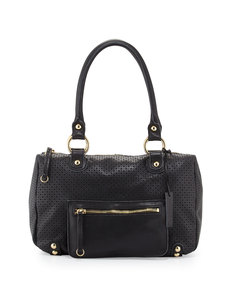 Linea Pelle Dylan Perforated Leather Duffle Tote, Black