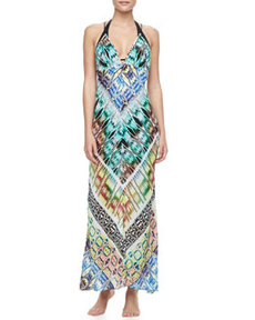 Charlevoid Print Deep V-Neck Maxi Coverup Dress   Charlevoid Print Deep V-Neck Maxi Coverup Dress